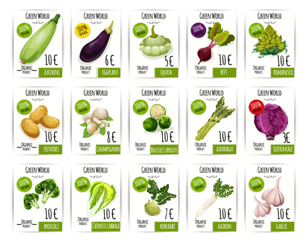 fresh vegetable: Fresh vegetable price label and tag set design Illustration
