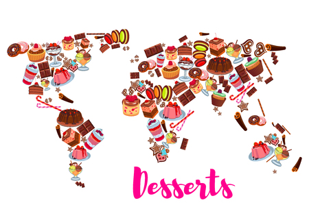 World map of cake, cupcake, donut, candy desserts