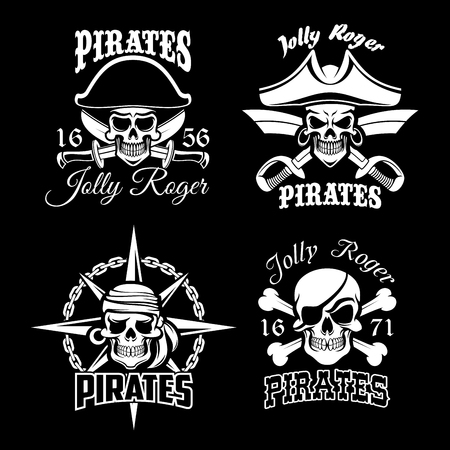 Pirate skull and Jolly Roger flag icon set design Illustration