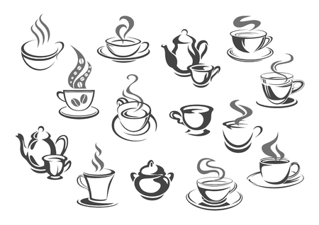 coffee icon: Cup of coffee and tea, teapot, sugar bowl icon set Illustration