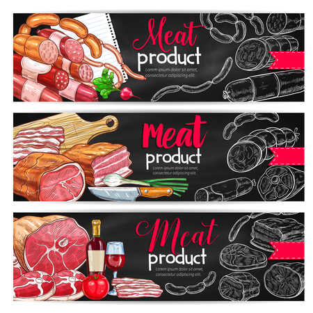 Meat and sausage barbecue menu banner set. Beef and pork sausages, ham, salami, bacon Иллюстрация