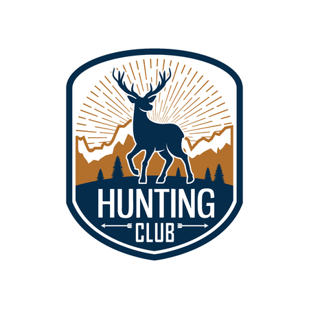 Deer hunting heraldic badge for hunt club design Illustration
