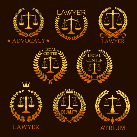 Lawyer golden emblem set with scale of justice Stock Illustratie