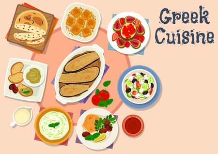 Greek cuisine tasty lunch dishes icon Illustration