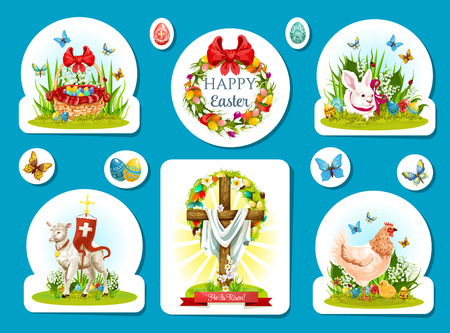 pascuas navideÑas: Easter holiday sticker and label set design