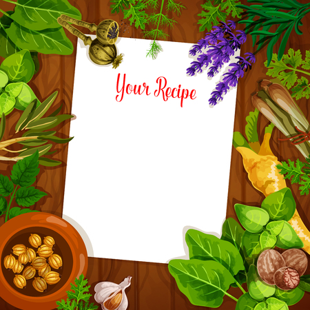 Herbs and spices with blank recipe paper on wooden background. Fresh basil, rosemary Illustration