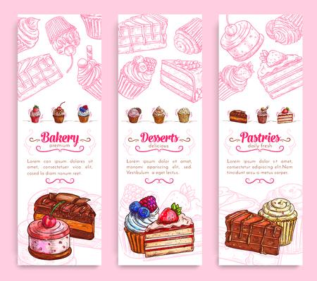 빵집 및 제과 용 디자인을위한 케이크 디저트 배너 일러스트