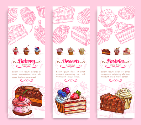 Cake desserts banner for bakery and pastry design Çizim