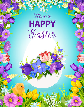 Easter egg floral greeting card with flower frame Stok Fotoğraf - 74733914