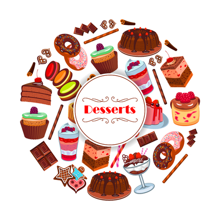 Dessert and pastry sweets cartoon poster design