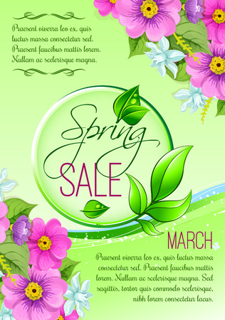 Sale vector floral poster of spring shopping promo Illustration
