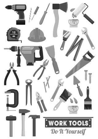 Repair and construction work tools vector icons