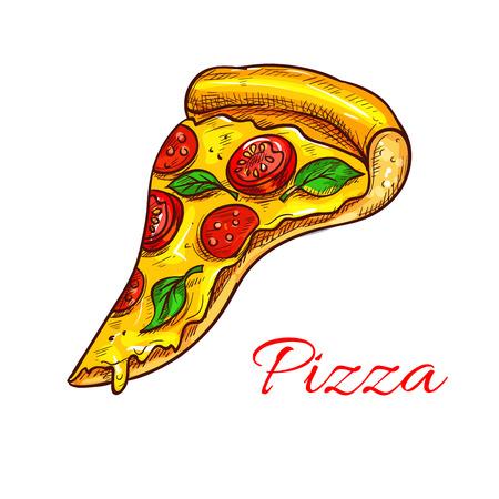 oregano: Pizza slice pizzeria fast food vector icon Illustration