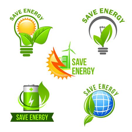 green power: Green eco power and energy saving symbol set. Illustration