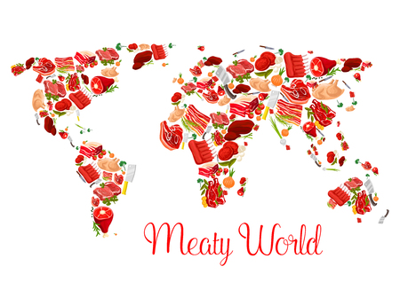 Meat world map poster with beef, pork, ham, bacon Illustration
