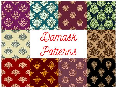 Victorian floral damask seamless pattern set. Flourish ornament with flower and leaf scroll motif. Wallpaper, interior textile, embellishment design
