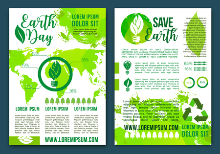Save Earth infographics brochure with vector elements of world map on energy consumption and ecology pollution. Environment conservation and green recycling concept with graphs, charts and diagrams