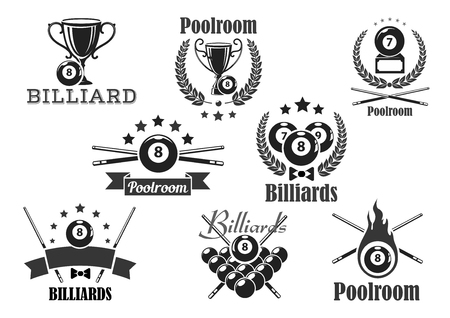 Biljart wedstrijd vector iconen of emblemen set Stock Illustratie