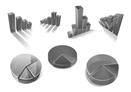 Business diagrams and charts vector icons Illustration
