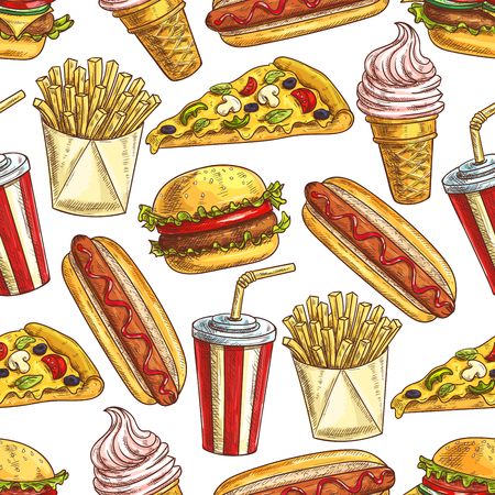 fast meal: Fast food meal snacks and dessert seamless pattern. Illustration