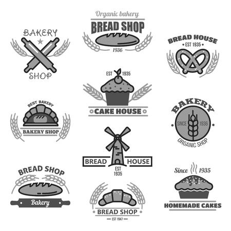 Boulangerie icônes de pain, oreilles de blé et moulin