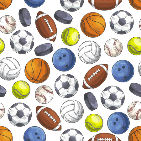 sports activity: Sport seamless pattern with sketch game balls.