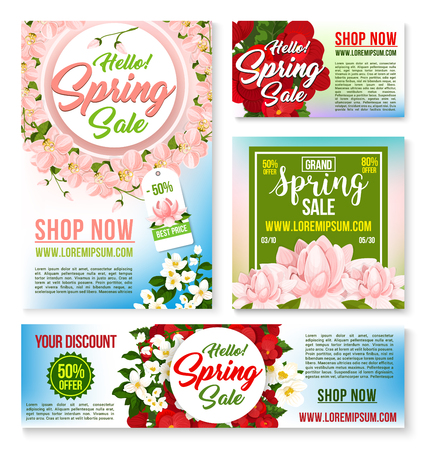 Sale vector tags, banners posters spring discount Ilustrace