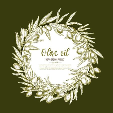 spanish food: Olive oil poster of vector olives branch wreath Illustration