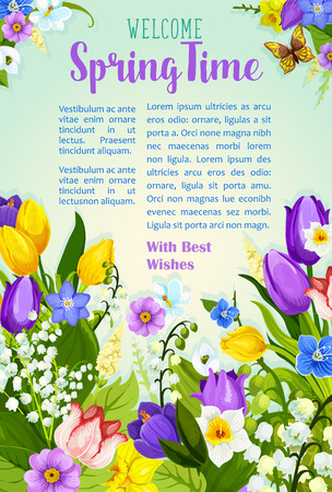 Spring flowers blooming design vector poster