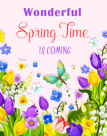 Vector flowers design of spring time greeting card Çizim