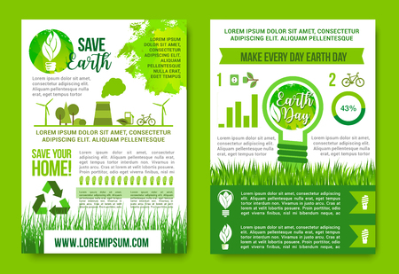 light emission: Earth Day infographics vector green energy concept