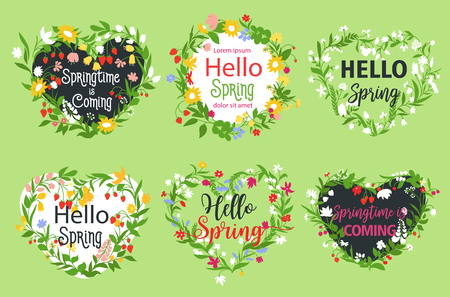 bunch of hearts: Vector spring greeting icons of heart flowers