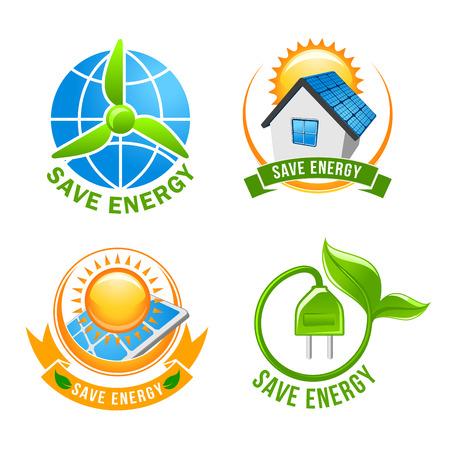 eco energy: Save energy, solar, wind, eco power symbol set Illustration
