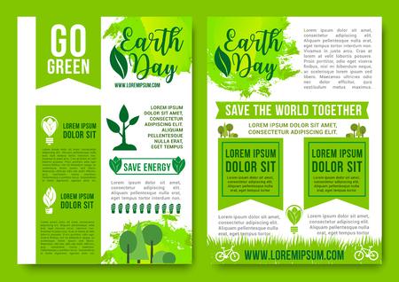 Earth Day vector brochures green nature energy Illusztráció