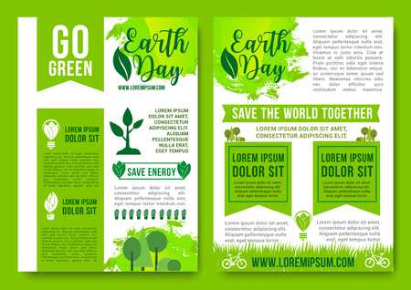 Earth Day vector brochures green nature energy Illustration