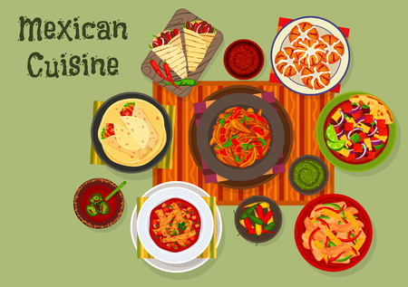 Mexican cuisine traditional lunch dishes icon