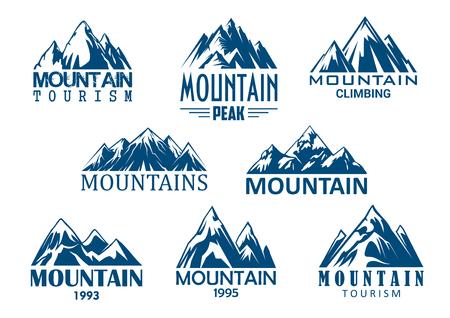 야외 모험 디자인을위한 산봉우리 아이콘 일러스트