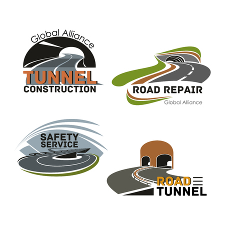 Road building company or maintenance service icon Illustration
