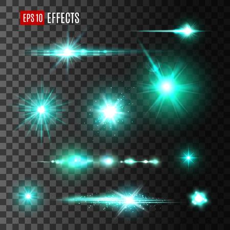 Glittering beam of star, light effects design Stock Illustratie