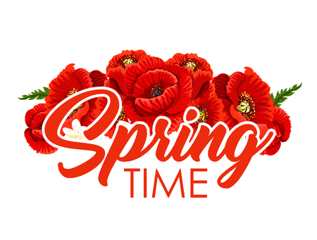 Spring time poster of vector poppy flowers bouquet Illustration