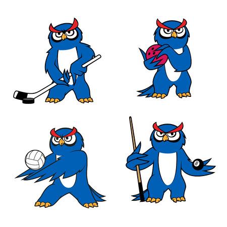 billiard ball: Owl bird mascot for sport club or team design