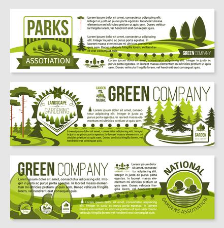 logos de empresas: Paisajismo y jardinería banner plantilla de diseño