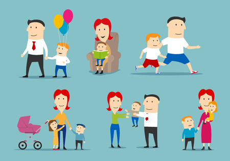Happy family set with parents and children. Stock Vector - 75339191