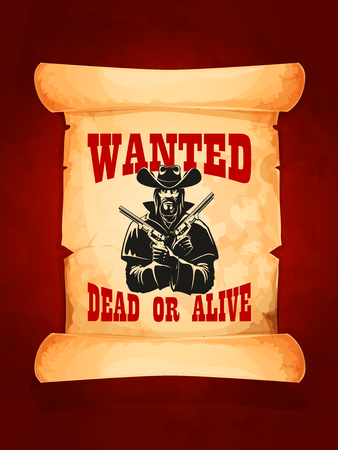 Gesucht tot oder lebendig Cowboy Plakatentwurf Standard-Bild - 75310103