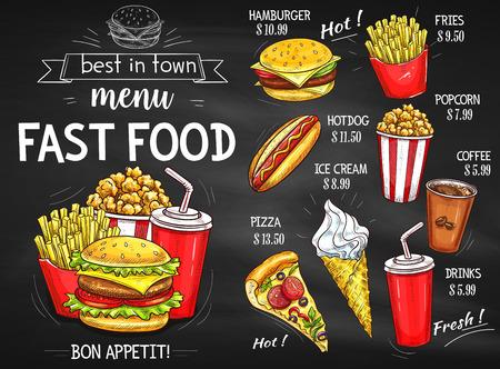 restaurant food: Fast food restaurant menu chalkboard design
