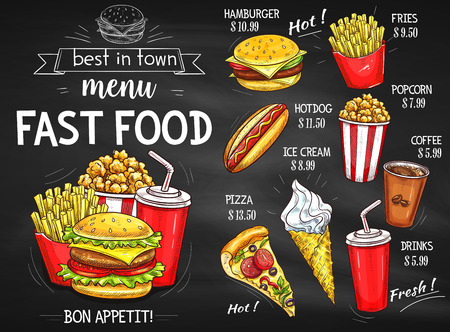 Fast food restaurant menu chalkboard design