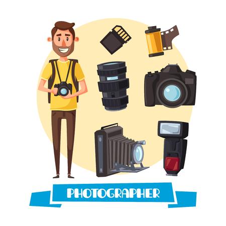 Fotografo con digitale macchina fotografica icona cartone animato