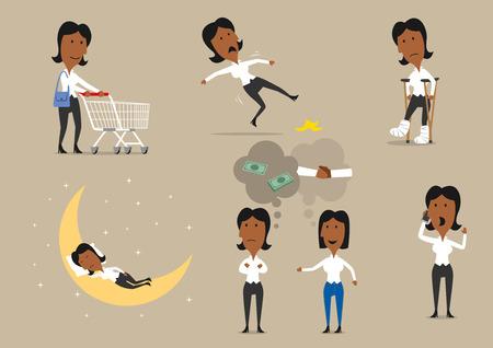 Businesswoman talking by phone, sleeping, shopping Illustration