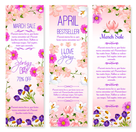 lowers: Spring holiday sale vector banners set of lowers