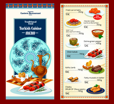 turkish bread: Turkish cuisine restaurant menu template design